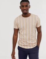 Esprit t-shirt with vertical stripe in pink