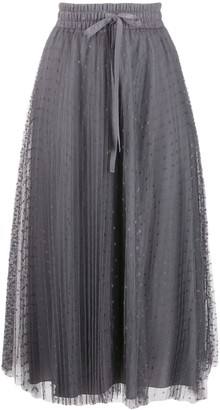 RED Valentino Point D'esprit Tulle Pleated Skirt
