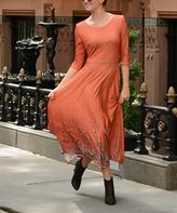 Tangelo & Sand Paisley Three-Quarter Sleeve Midi Dress