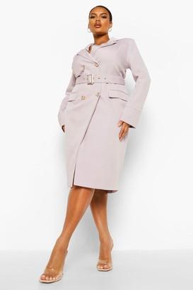 boohoo Plus Belted Wrap Blazer Dress