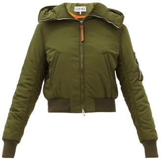 Loewe Hooded Cropped Bomber Jacket - Green