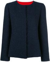 Armani Collezioni contrast inside seam blazer - women - Cotton/Acrylic/Polyamide/Metallic Fibre - 46