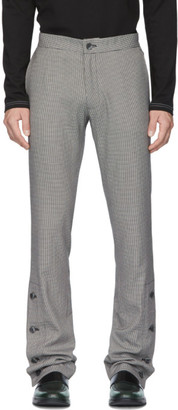 Daniel W. Fletcher Black and White Houndstooth Split Hem Trousers
