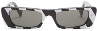 Gucci Striped Rectangle Acetate Sunglasses - Black White