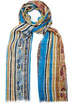 Etro Paisley-print striped silk scarf