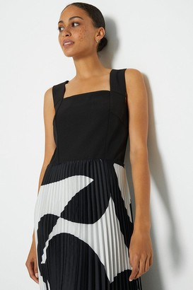Coast Solid Bodice Printed Pleat Skirt Maxi Dress