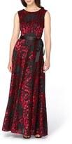 Tahari Burnout Velvet Gown
