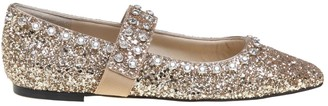 Jimmy Choo Ballerina In Glittery Fabric Color Gold