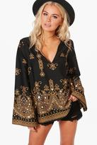 boohoo Esme Boutique Embellished Woven Top