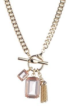 Ralph Lauren Gold-Tone Stone Square & Chain Tassel Pendant Necklace, 17