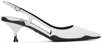 Prada White Leather Slingback Heels