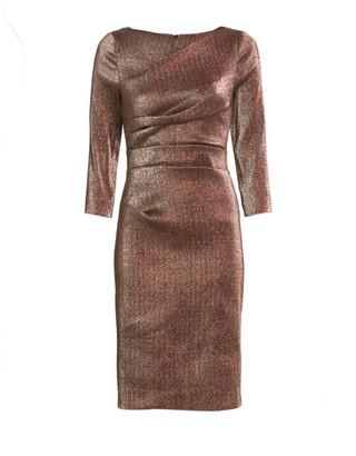 Teri Jon By Rickie Freeman Ruched Metallic Cocktail Dress