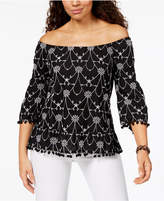 Style&Co. Style & Co Cotton Pom-Pom-Trim Top, Created for Macy's