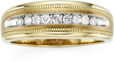 JCPenney MODERN BRIDE Mens 1/4 CT. T.W. Diamond 10K Yellow Gold Milgrain Ring