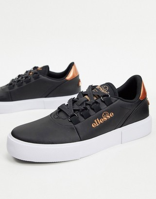 Ellesse alto leather lace up trainers in black