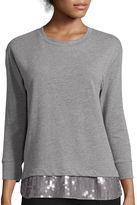 STYLUS Stylus 3/4-Sleeve Sequin Hem Sweatshirt