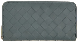 Bottega Veneta Grey Intrecciato Zip Around Wallet