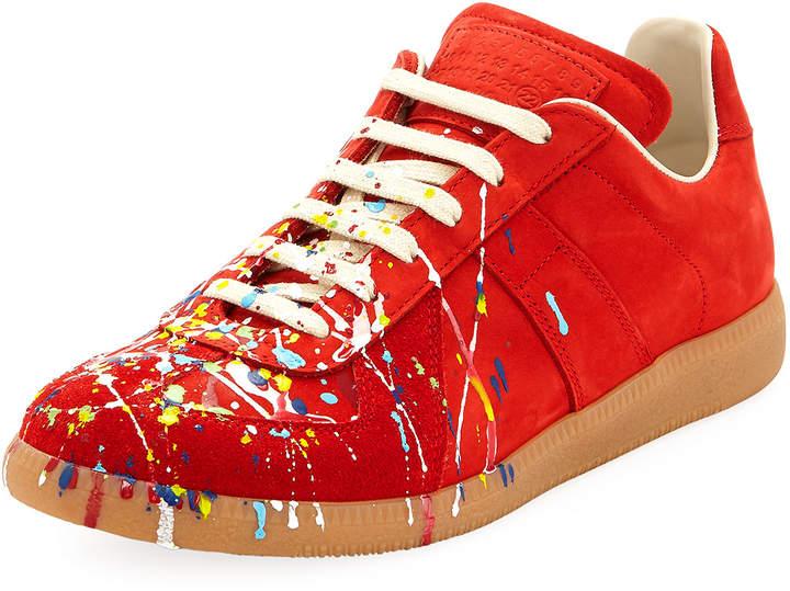 ef6c4affd58 Men's Replica Paint-Splatter Suede Low-Top Sneakers