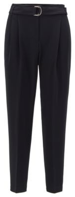 HUGO BOSS Regular Fit Crepe Pants With Paper Bag Waist - Black