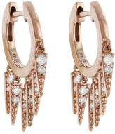 Sydney Evan Large Pave Fringe Huggie Hoop Earrings - Rose Gold