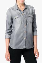 7 For All Mankind Flap Pocket Denim Shirt In Grey