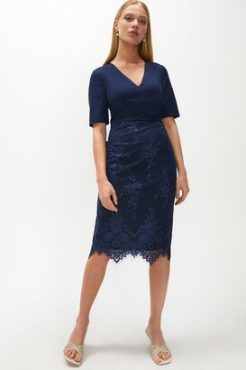 Coast Wrap Front Embroidered Midi Skirt Dress
