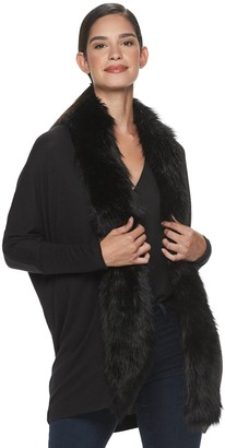 JLO by Jennifer Lopez Women's Faux-Fur Trim Completer Cardigan