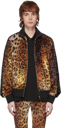 Versace Tan Leopard Bomber Jacket