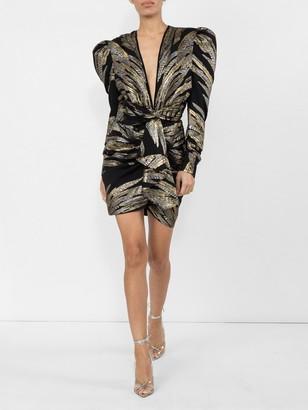 Dundas Metallic Deep V Dress