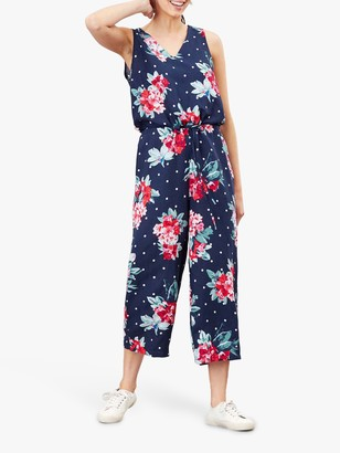 Joules Angela Linen Floral Print Jumpsuit, Navy Spot