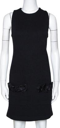 Louis Vuitton Black Wool Blend Sleeveless Shift Dress S
