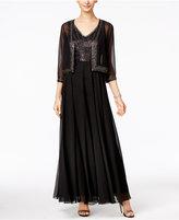 J Kara Beaded V-Neck Gown and Jacket