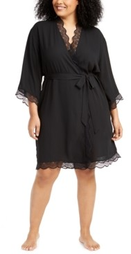 INC International Concepts Inc Plus Size Lace-Trim Chiffon Wrap Robe, Created for Macy's