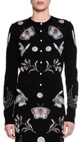 Alexander McQueen Obsessions Button-Front Cardigan, Black/Multi/Pink