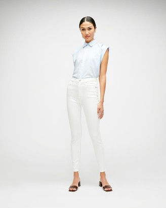 7 For All Mankind Slim Illusion High Waist Ankle Skinny in Luxe White