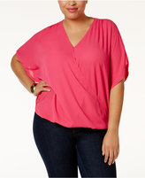 INC International Concepts Plus Size Dolman-Sleeve Surplice Top, Only at Macy's