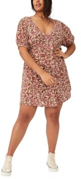 Cotton On Trendy Plus Size Woven Miranda Mini Tea Dress