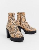 Asos Design DESIGN Europe chunky loafer boots in snake