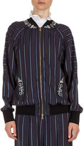 Erdem Danni Striped Bomber Jacket, Plum/Blue