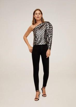 MANGO Buttons skinny high waist jeans black denim - 2 - Women