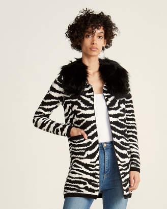 Vila Milano Animal Faux Fur Collar Cardigan