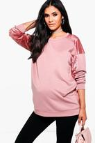 Boohoo Maternity Verity Velvet Contrast Sweater