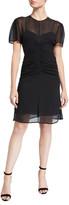 Rag & Bone Maris Ruched Chiffon Short-Sleeve Mini Dress