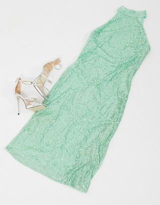 Pretty Lavish high neck sequin midi dress in mint