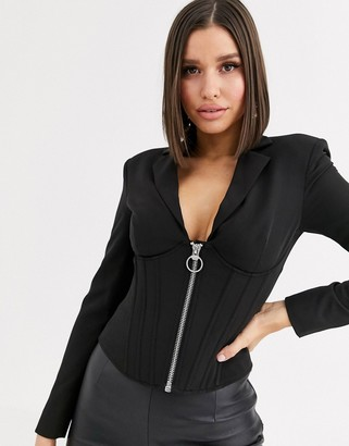 Asos Design DESIGN corset blazer with boning-Black