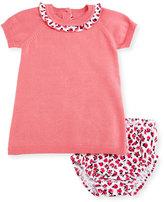 Kate Spade Raglan Ruffle-Trim Sweaterdress W/ Rose-Print Bloomers, Pink, Size 3-9 Months