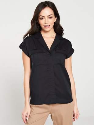 Very Short Sleeve Utility Shirt - Black