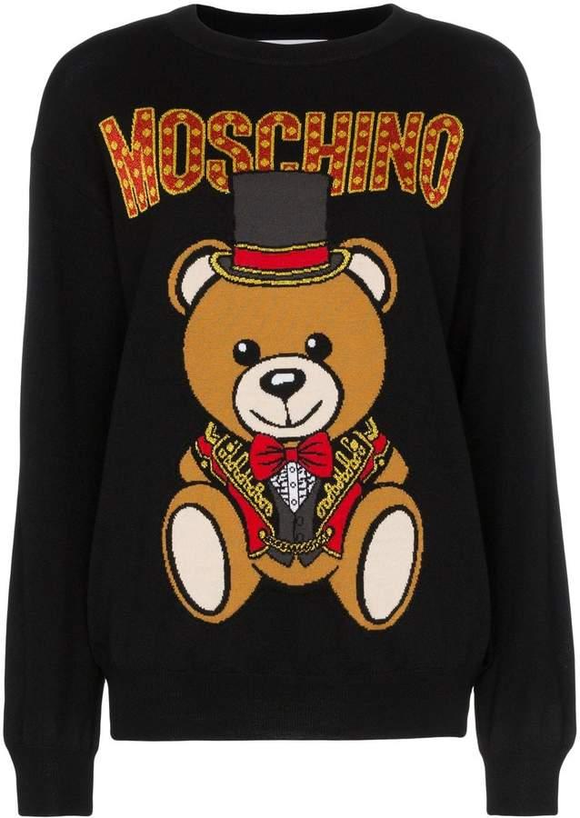 ab4eb9241c0 logo bear intarsia knitted virgin wool jumper