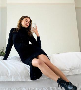 Y.A.S Tall long sleeve roll neck jumper dress in black