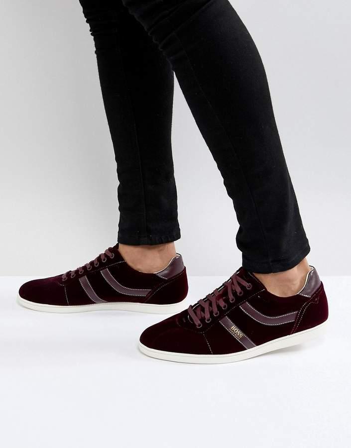 BOSS Rumba Velvet Sneakers in Burgundy